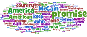 Word cloud from Barack Obama's DNC acceptance speech, Aug 2008