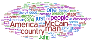 Sarah Palin RNC Speech Word Cloud