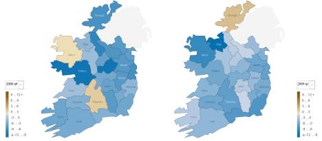 Quarter-on-quarter changes in house prices, 2008q4-2008q1