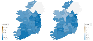 Change in rents by county, 2009 Q1